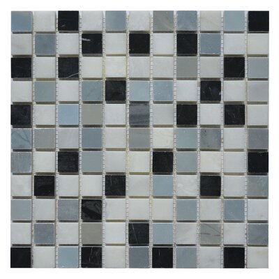 Soul Soar 1 x 1 Marble Mosaic Tile in White/Black