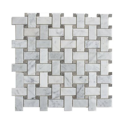Carrara Basketweave 1 x 2 Marble Mosaic Tile in White