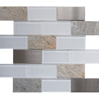 Tetris Sevilla 2 x 4 Glass/Stone Mosaic Tile in White/Gray