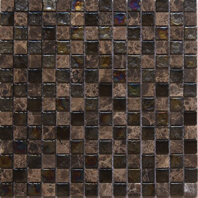 Diamond Topaz 1 x 1 Glass/Stone Mosaic Tile in Dark/Yellow