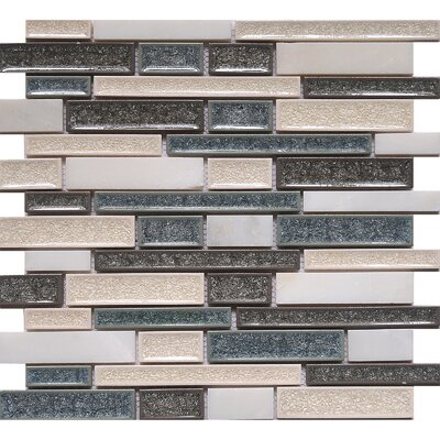 Urban Tahoe Crackled Random Sized Glass/Stone Mosaic Tile in White/Gray
