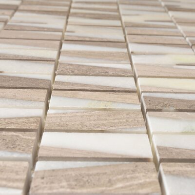 Bamboo 0.63 x 2 Marble Mosaic Tile in White Oak