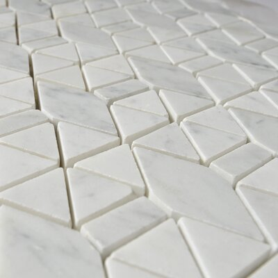 Carrara Triangle Random Sized Marble Mosaic Tile in White