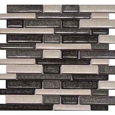 Elements Crackled Random Sized Glass Mosaic Tile in Zinc