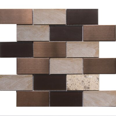 Tetris Cordoba 2 x 4 Glass/Stone Mosaic Tile in White/Chocolate