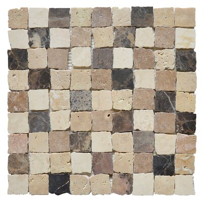 Rabat Plaza 1.25 x 1.25 Marble Mosaic Tile in White/Black