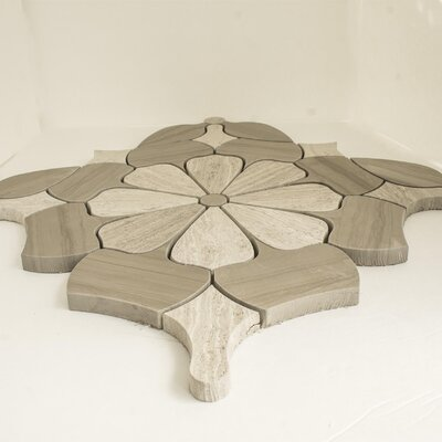 Water Jet Daisy Random Sized Marble Mosaic Tile in White Oak