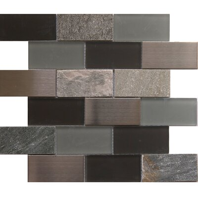 Tetris Granada 2 x 4 Glass/Stone Mosaic Tile in Black/Gray