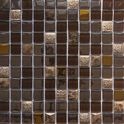 Diamond Axinite 1 x 1 Glass/Stone Mosaic Tile in Brown/Gray
