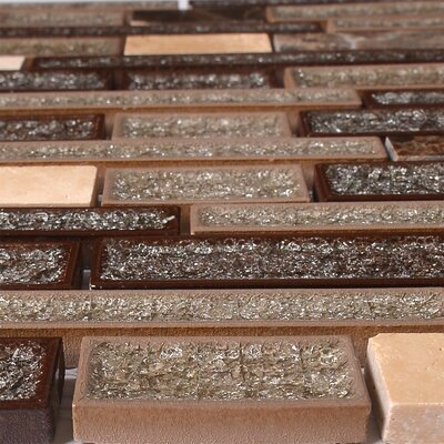Urban Suburban Crackled Random Sized Glass/Stone Mosaic Tile in Dark/Chocolate