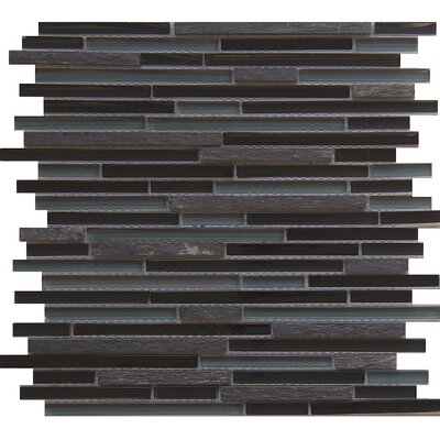 Horizon Midnight Random Sized Glass/Stone/Metal Mosaic Tile in Gray/Brown