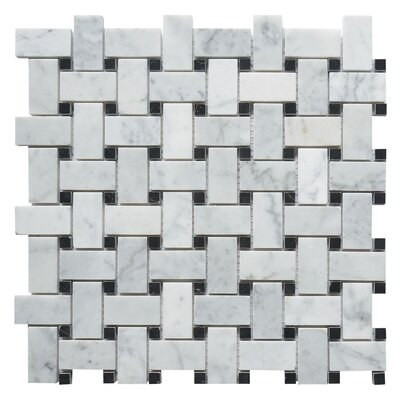 Carrara Honed Basketweave 1 x 2  Marble Mosaic Tile in White