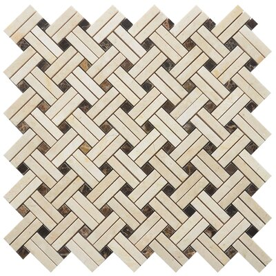 Knot Random Patch Sized Marble Mosaic Tile in Yellow/Brown
