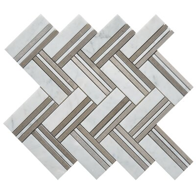 Quilt Martis Random Sized Marble Mosaic Tile in White/Gray