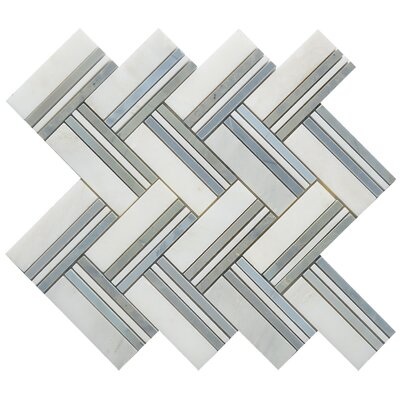 Quilt Maurice Random Sized Marble Mosaic Tile in White/Gray
