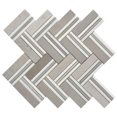 Quilt Mohegan Random Sized Marble Mosaic Tile in White/Gray
