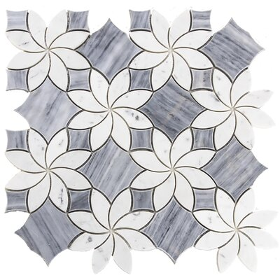 Water Jet Blossom Random Sized Marble Mosaic Tile in White/Gray