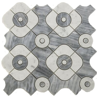 Water Jet Serene Random Sized Marble Mosaic Tile in White/Gray
