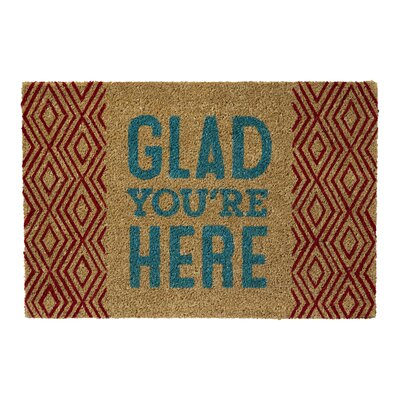 Marin Coir with Glad Youre Here Sentiment Doormat