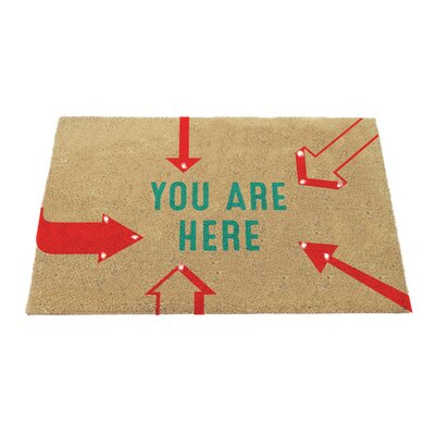 Kaelin Lighted Coir with You are Here Sentiment and Arrows Doormat