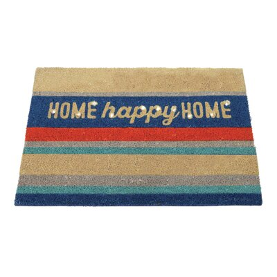 Arden Lighted Coir Stripes with Home Happy Home Sentiment Doormat