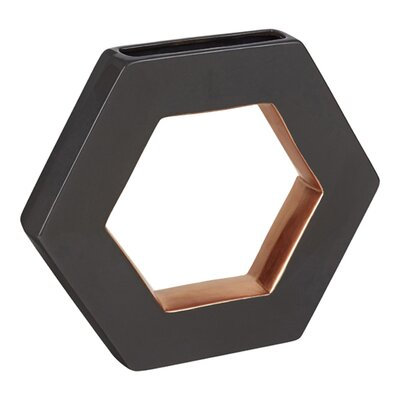 Ceramic Open Hexagon Table Vase Color: Dark Gray, Size: 11