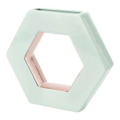 Ceramic Open Hexagon Table Vase Color: Aqua, Size: 9.5