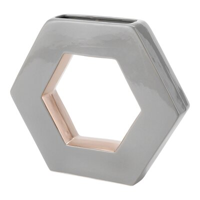 Ceramic Open Hexagon Table Vase Color: Light Gray, Size: 9.5