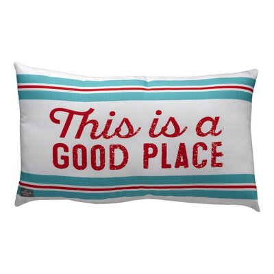 Dylan Stripes with This is a Good Place Sentiment Outdoor Lumbar Pillow