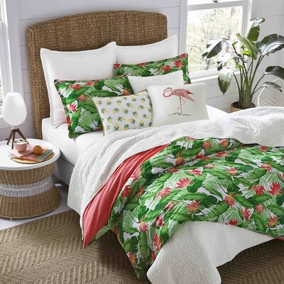 Madeira Cotton Reversible Duvet Cover Set Size: Full/Queen