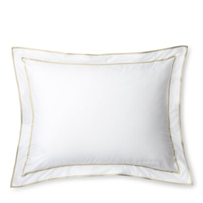 Spencer Border Sham Size: King, Color: White/Flax