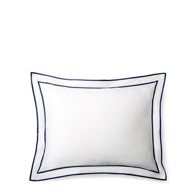 Spencer Border Sham Size: King, Color: White/Navy