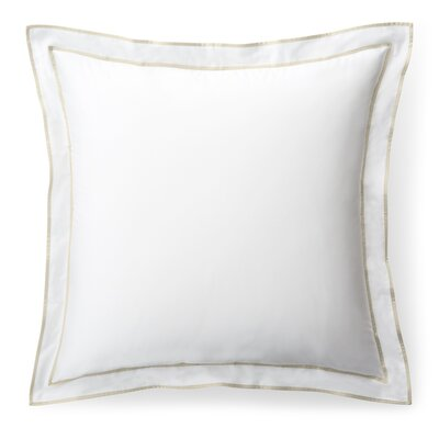 Spencer Border Euro Sham Color: White/Flax