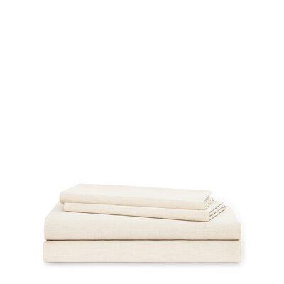 Graydon Melange 212 Thread Count 100% Cotton Sheet Set Size: King, Color: Dune