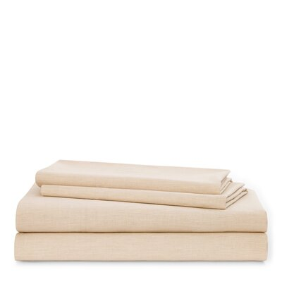 Graydon Melange 212 Thread Count 100% Cotton Sheet Set Size: King, Color: Linen
