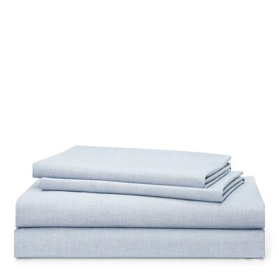 Graydon Melange 212 Thread Count 100% Cotton Sheet Set Size: King, Color: Chambray