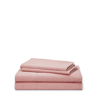 Graydon Melange 212 Thread Count 100% Cotton Sheet Set Size: Queen, Color: Nantucket Red