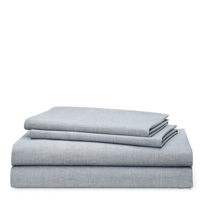 Graydon Melange 212 Thread Count 100% Cotton Sheet Set Size: King, Color: Indigo