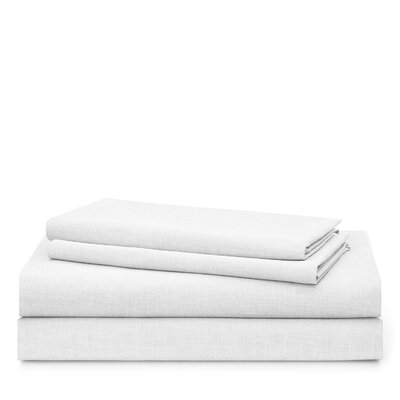 Graydon Melange 212 Thread Count 100% Cotton Sheet Set Size: Queen, Color: White