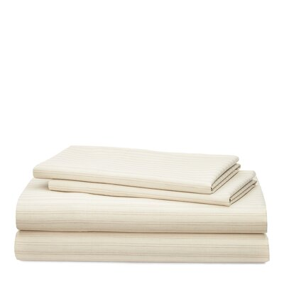 Graydon Shirting Stripe 200 Thread Count 100% Cotton Sheet Set Size: King, Color: Dune/Linen