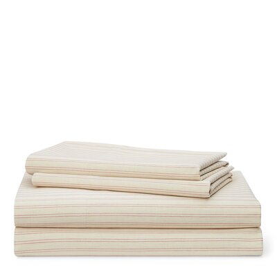 Graydon Shirting Stripe 200 Thread Count 100% Cotton Sheet Set Size: King, Color: Dune/Nantucket Red