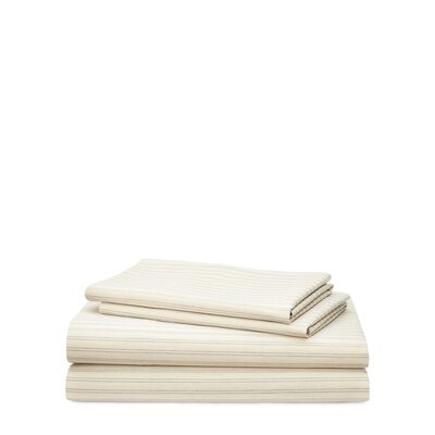 Graydon Shirting Stripe 200 Thread Count 100% Cotton Sheet Set Size: King, Color: Dune/Chambray