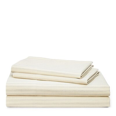 Graydon Shirting Stripe 200 Thread Count 100% Cotton Sheet Set Size: King, Color: Dune/Fog