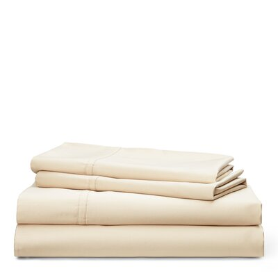 Spencer Solid 475 Thread Count 100% Cotton Sheet Set Size: King, Color: Flax