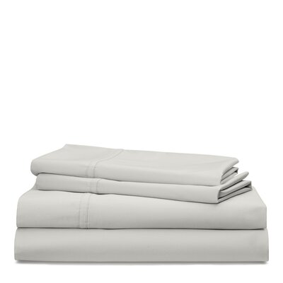 Spencer Solid 475 Thread Count 100% Cotton Sheet Set Size: Queen, Color: Stone Gray