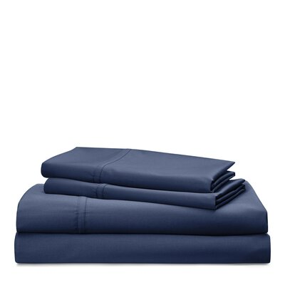 Spencer Solid 475 Thread Count 100% Cotton Sheet Set Size: King, Color: Navy