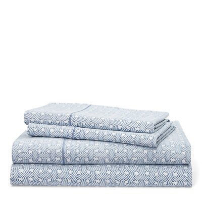 Spencer Basketweave 212 Thread Count 100% Cotton Sheet Set Size: King, Color: King Fisher Blue