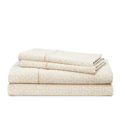 Spencer Basketweave 212 Thread Count 100% Cotton Sheet Set Size: King, Color: Wheat