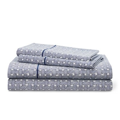 Spencer Basketweave 212 Thread Count 100% Cotton Sheet Set Size: King, Color: Navy