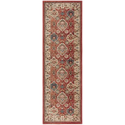 Camille Red/Beige Area Rug Rug Size: Runner 26 x 8